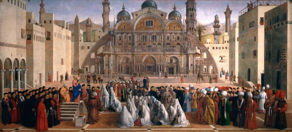 Gentile Bellini: Die Predigt des hl. Markus in Alexandria, Ägypten in der Pinacoteca di Brera im Brera-Viertel